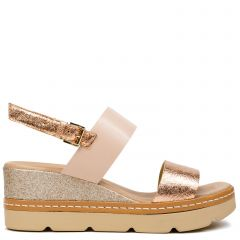 Rose gold leather platform
