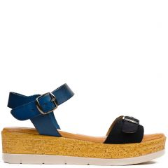 Blue leather flatform with buckle