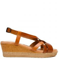 Tabacco leather wedge
