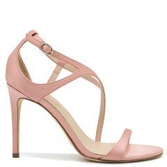 Ροζ σατεν ψηλοτάκουνο πέδιλο