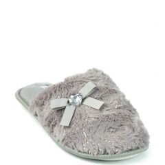 Grey furry slippers