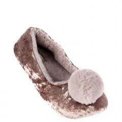 Taupe slipper with pom pom