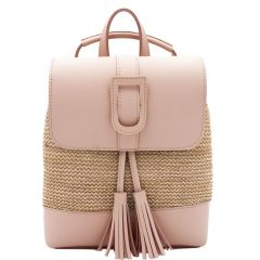 Pink straw backpack