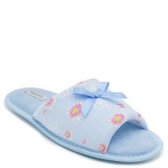 Women's light blue open-toe slipper with flowers