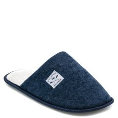 Men's navy indoor slipper with stitched label
