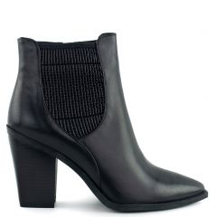 Black leather western bootie
