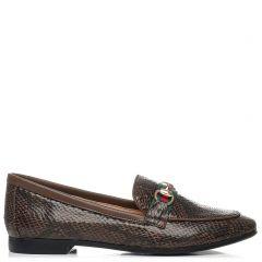 Brown snakeskin loafer