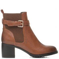 Tobacco high heel bootie