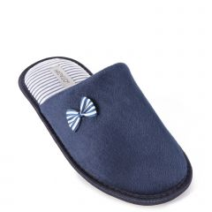 Blue slipper with stripe bow