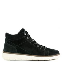 Men's black suede leather sneaker boot