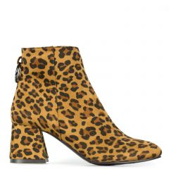 Animal print bootie in suede