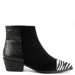 Black animal print western bootie
