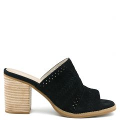 Black leather mule