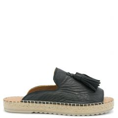Black leather mule  espadrille