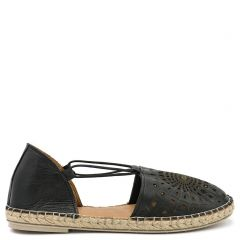 Black leather espadrille