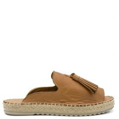 Tobacco leather mule  espadrille
