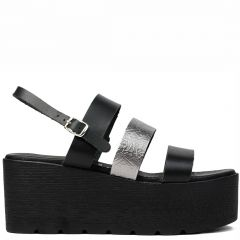 Black / Pewter leather flatform