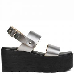 Pewter leather flatform