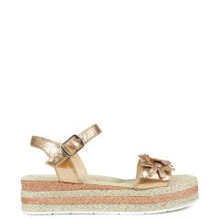 Kid's pink/gold metallic platforms