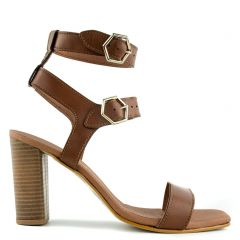 Brown leather high heel sandal