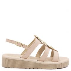 Nude leather flatform