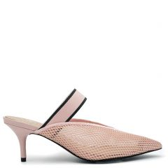 Pink mule with elastic band