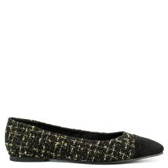 Black tweed ballet flat
