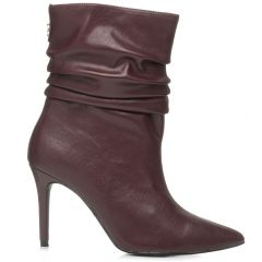 Burgundy high heel bootie