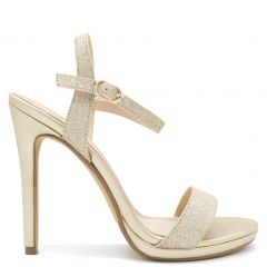 Gold high heel sandal with glitter