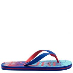 Men's royal blue flip-flop with 2-coloured thong and embossed design