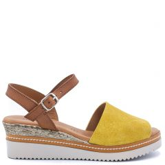 Yellow leather wedge
