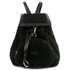 Black backpack with flap