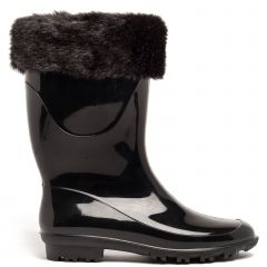Black patent rain boot