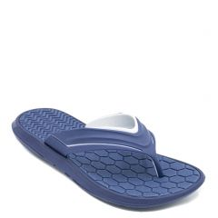 Men's navy flip-flop with embossed design