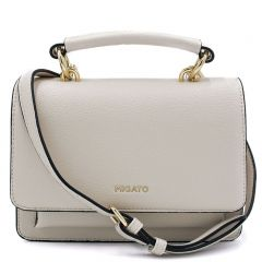Beige handbag with flap