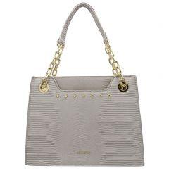 Beige lizard textured shoulder bag