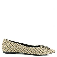 Yellow checked print ballet flat