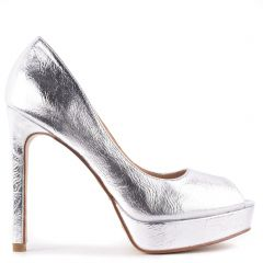 Silver high heel peep-toe pump