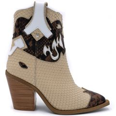 Beige leather western boot