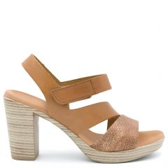 Tobacco leather sandal