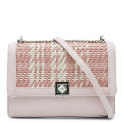 Pink woven shoulder bag