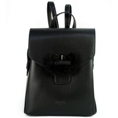 Black backpack with front buckle
