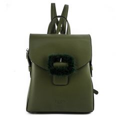 khaki backpack with front buckle