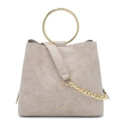 Beige lizard textured handbag