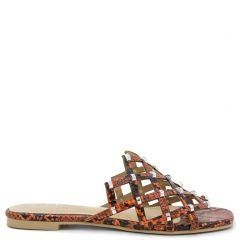 Orange snakeskin sandal