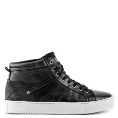 Men's black leather  sneaker boot
