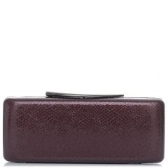 Burgundy lizard textured clutch