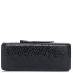 Black lizard textured clutch