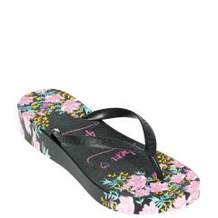 Black flip flop with decorative print