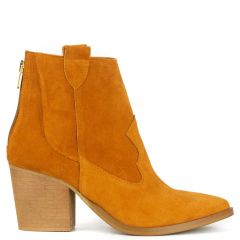 Orange leather western bootie